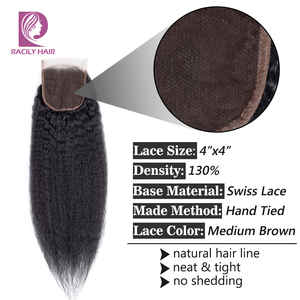 Image 2 - Racily שיער 4x4 ברזילאי קינקי ישר סגירת רמי שיער טבעי תחרה שוויצרית סגירת צבע טבעי משלוח/אמצע/ שלושה חלק סגירה