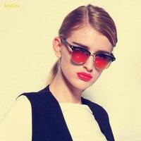 UV400 Mirrored Red Ray Protect Sunglass Women Mirror Polarized Glasses Semi Rimless Sunglass for Women Glasses Brown 2017 Brand