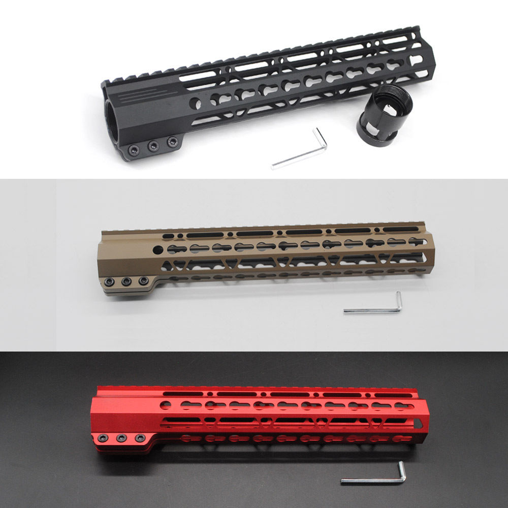 TriRock Black/Tan/Red 11'' inch Keymod Clamp Handguard Free Float Picatinny Rail Mount System Fit .223/5.56 Rifle AR-15/M4/M16