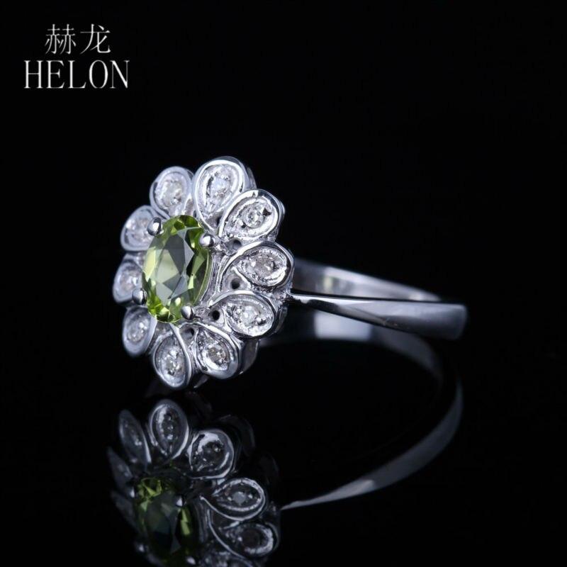 HELON  6x4mm Oval cut 0.5CT Genuine Peridot Ring natural Diamonds Women