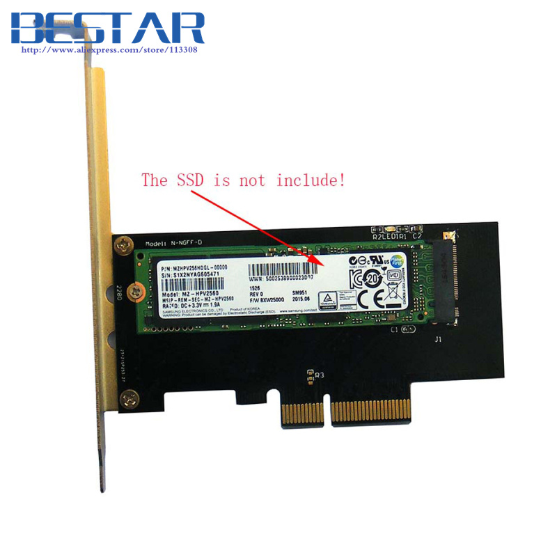 (100 pieces/lot) PCI-E 3.0 x4 Lane Host Adapter Converter Card M.2 NGFF M Key SSD to Nvme PCI Express