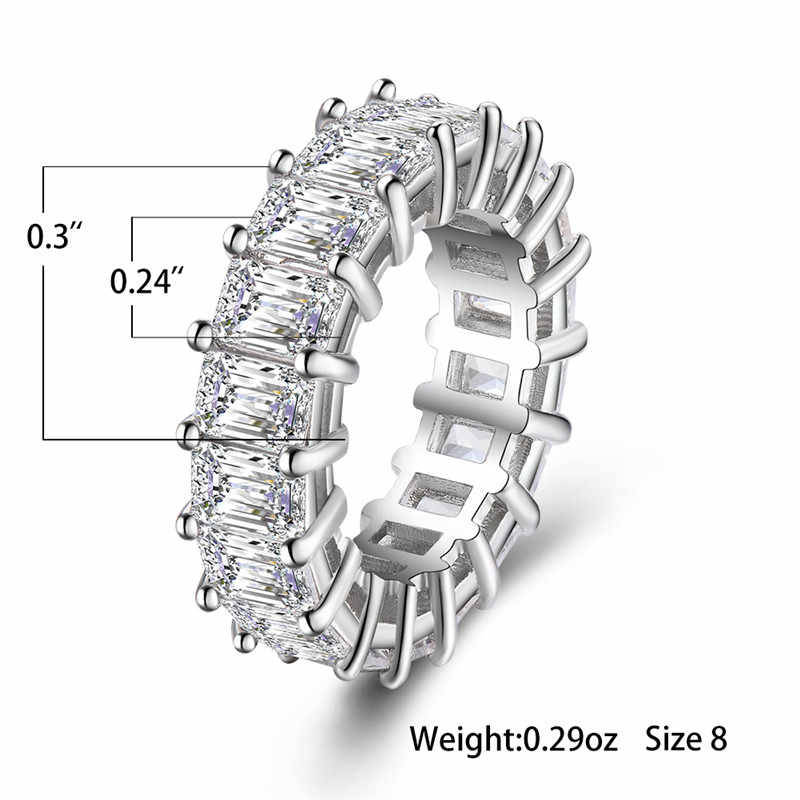 คริสตัลหญิง Zircon แหวนหินสไตล์ที่ไม่ซ้ำกัน Silver สีงานแต่งงานค็อกเทลแหวนสัญญารักหมั้นแหวน