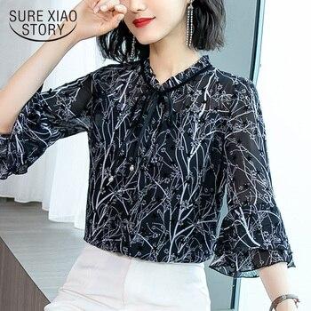 5df62287aef4 Camisas de mujer SheMujerSky blusas de cuello vuelto de otoño con estampado  de puntos de manga larga ...