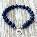 SN1039 Genuine Lapis Lazuli Bracelet Natural Stone Bead Men`s Bracelet Throat Chakra Spiritual Yogi Gift Free Shipping