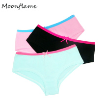 Moonflme 3 pcs/lots Cotton Underwear 6 Solid Color Women Hipster 89059