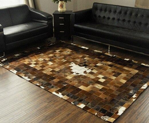 Tapis art à la mode 100% tapis 3d en cuir de vachette véritable naturel