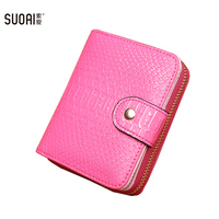 SUOAI Women New Wallets Alligator Pu Girls Short Purses Female Small Card Coin Bags