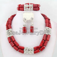Silver Tone African Coral Beads Jewelry Sets Nigerian Wedding African Bridal Jewelry Sets HD0299
