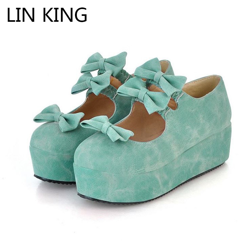 LIN KING Womens Spring Autumn Shoes Female High Heel Platform Pumps Leisure Sweet Round Toe Buckle Butterfly Lady Lolita Shoes d lin d154455