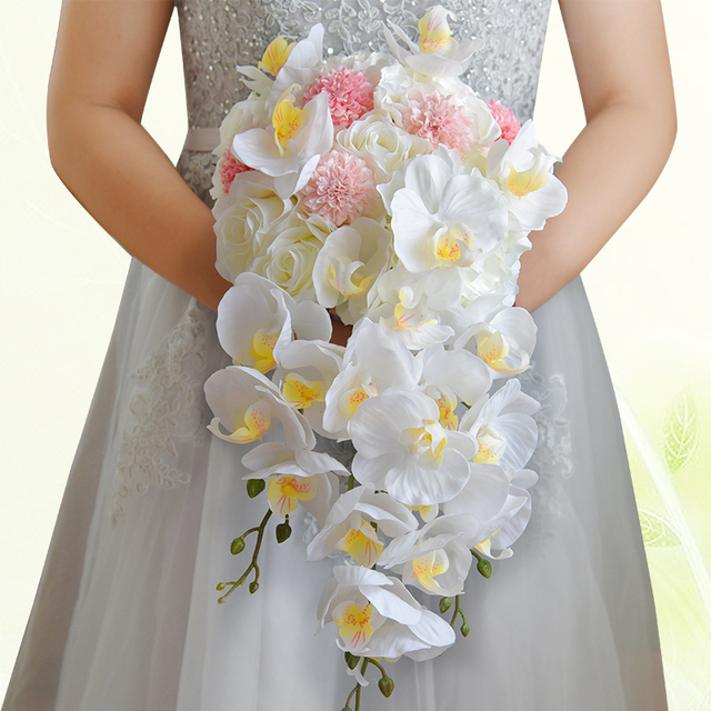 8d032ca05b294 Cascading Bride Bouquet White Phalaenopsis Orchid & Rose Bridal bouquet  Skill Flower Teardrop Wedding Bouquet A0013-in Wedding Bouquets from  Weddings ...