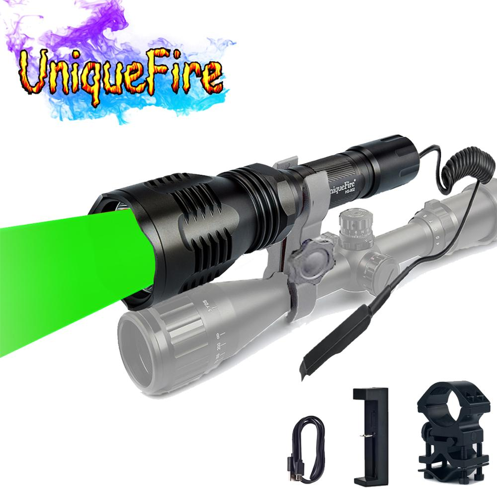 Uniquefire HS-802 CREE LED flashlight  long range green laser flashlight for hunting+Gun Mount+ Charge+Rat Tail shoting torch laser hijau jarak jauh