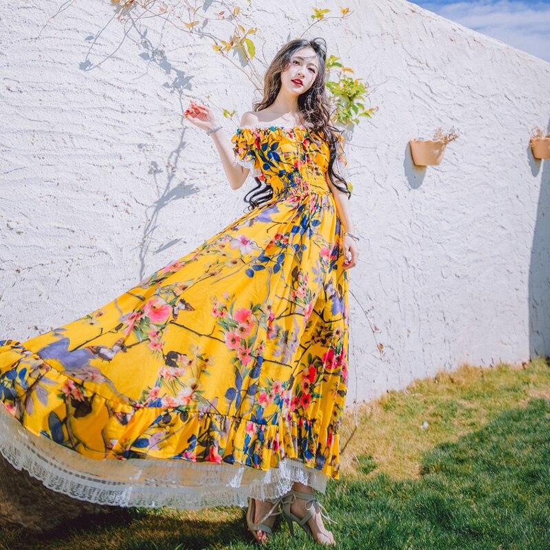 Vacances Soie Floral Plage 2017 Dress Balnéaire De Flower En Bohème Robes Mousseline Slim qww6a1vZ