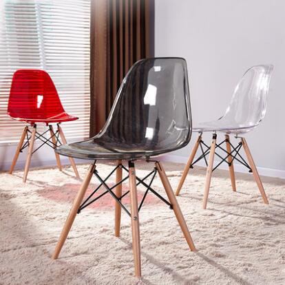 YINGYI Free Shipping Modern Plastic Dining Chair Without Arms Transparent Color