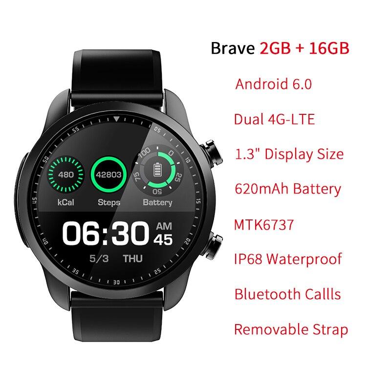 "KOSPET Brave 2 GB 16 GB Bluetooth Android 6.0 1.3 ""Touch Screen 4G Smartwatch IP68 Waterdichte MT6737 Business slimme Horloge Telefoon-in Smart watches van Consumentenelektronica op  Groep 2"