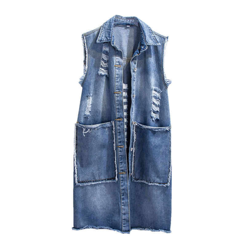 Denim Westen Frauen Frühling Herbst Schlank Single breasted Loch Ärmellose Jacke 2019 Wilden Medium lange Weibliche Denim Weste JIA238