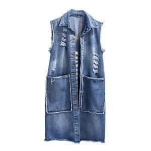 Женский джинсовый жилет JIA238, облегающий однобортный жилет средней длины без рукавов, весна-осень 2019