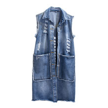 Denim Westen Frauen Frühling Herbst Schlank Single breasted Loch Ärmellose Jacke 2019 Wilden Medium lange Weibliche Denim Weste JIA238(China)