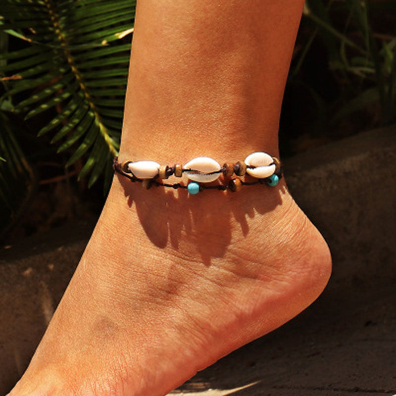 Vintage DIY Rope Wood Bead Ankle Bracelet Natural Shell Bohemian Anklet Women Foot Jewelry Summer Beach Holiday Accessories