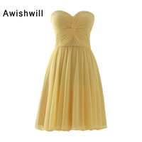 Customized Sweetheart Neck Ruched Chiffon Simple Design Bridesmaid Dresses Short Cheap Party Dress For Special Occasion