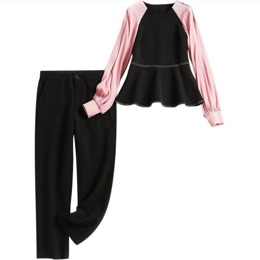 De Printemps Élégant Mode Dames 2019 Pièces Manches Pantalon Noir Costumes Taille Ensembles Bureau Haute Nouveau Deux À Longues Moulant Blouse tUdqxU