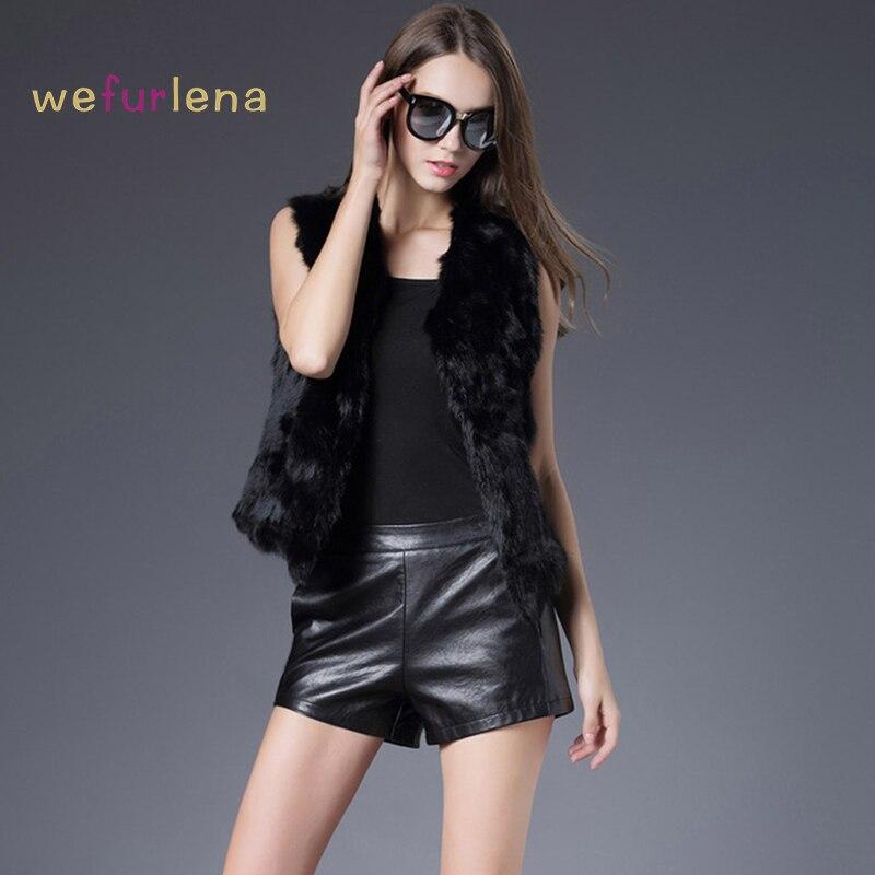 2017 V neck Hot Sale Women Solid Women s Rabbit Real Fur Vest Genuine Rabbit Coat