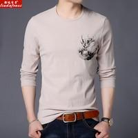 LIUDAFENZI New long sleeved T shirt, men's fashion casual cotton printed circular neck men's Shirt Jersey