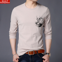 LIUDAFENZI New long sleeved T shirt, men's fashion casual cotton printed circular neck men's Shirt Jersey