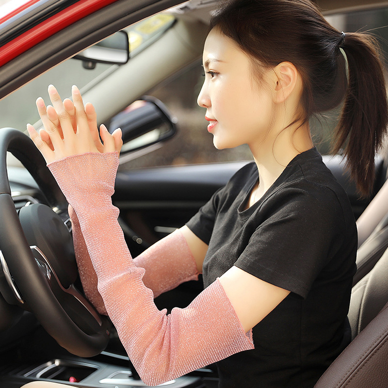 1 Pair Pink Femme UV Sunscreen Car Driving Bike Cycling Cuff Hand Protection Women Fingerless Lace Long Gloves Mesh Arm Sleeves