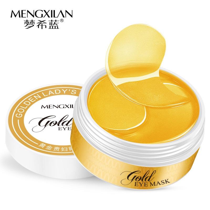 MENGXILAN 60piecs 24K Gold Eye Mask Collagen Sleep Mask Eye Patches For Eye Ageless Dark Circles Removal Gel Mask Face Care