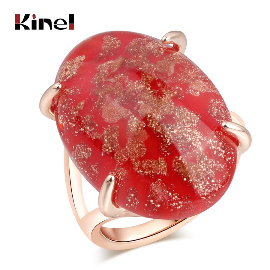 Kinel Hot Drop Shipping Luxury Blue Natural Stone Ring Rose Gold Fashion Wedding Jewellery 7 color Options Party Gift 2018 New