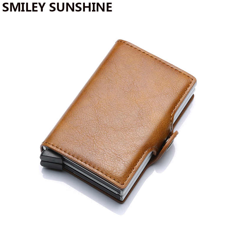 Top Quality Wallet Men Money Bag Mini Purse Male Vintage Automatical Aluminium Rfid Card Holder Wallet Small Smart Wallet Vallet