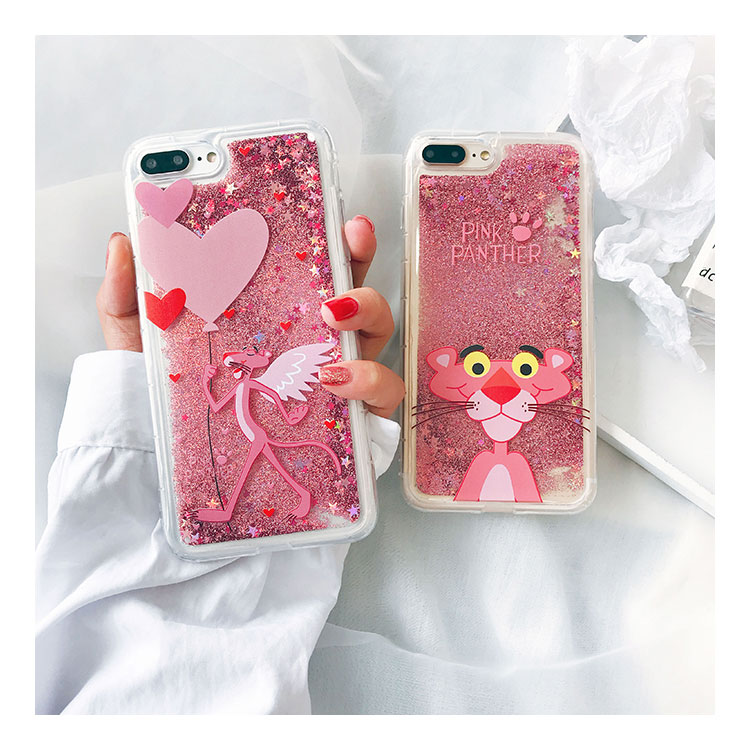 Liquid Cartoon Pink Leopard Flamingo Case For iPhone XS MAX Fashion Girl Quicksand Dynamic Case For iPhone 6 6S 7 8 Plus X XR XS marvel glass iphone case