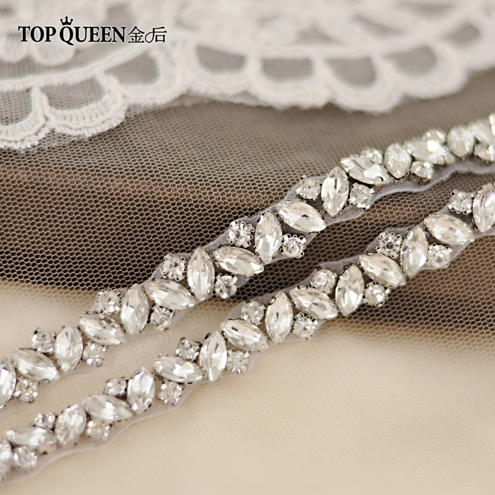 TOPQUEEN S404 Rhinestones Wedding Belts Wedding Sash Diamond Bridal Thin Belt For Girl Bridal Sashes For Vintage Wedding Dress