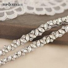 TOPQUEEN S404 стразы, Свадебные ремни, свадебный пояс, бриллиантовый тонкий пояс для невесты, для девочки, свадебные пояса для винтажного свадебного платья