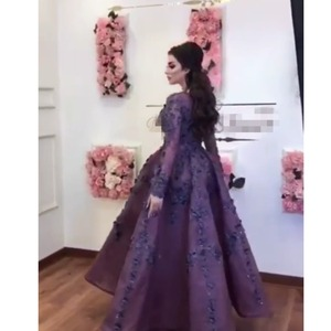 Image 2 - Árabe saudita roxo 3d flor vestidos de noite com mangas completas rendas floral vestidos de baile tornozelo comprimento vestido de festa