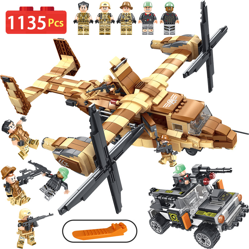 Military Series Osprey Helicopter Blocks Compatible LegoINGLY Technic aircraft Diy Bricks Enlightening Fun Toys For Children