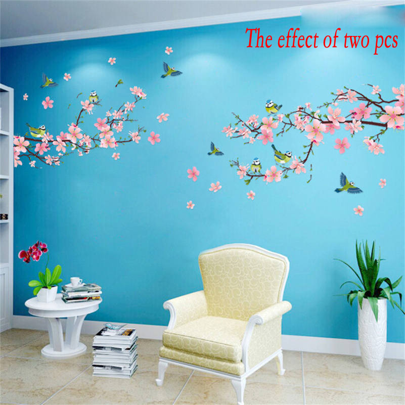 1 pc Sakura Wall Stickers Kids Rooms Bedroom Living Room DIY Art PVC Beautiful Flower Tree Removable Wallpaper home decor New