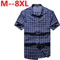 9XL 8XL 6XL New Summer Style Men Short Sleeve Shirts Plaid Fashion Brand Turn-down Collar Slim Fit Breathable Men Casual Shirt