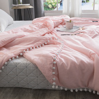 Summer throw Quilts fresh pink patchwork quilt stitching small balls duvet 1pc soft bedspread solid bed cover pastoral bed linen