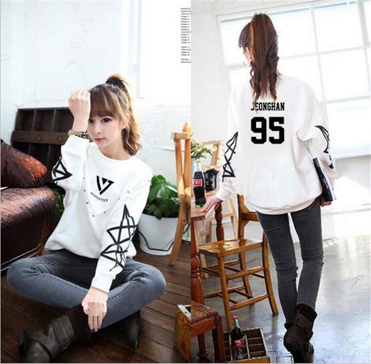 kpop SEVENTEEN17 women Autumn Fleece Hoodies Cotton Long Sleeve Coat Sweatshirts K-Pop Style Clothe 17 Carat Seventeen Outerwear