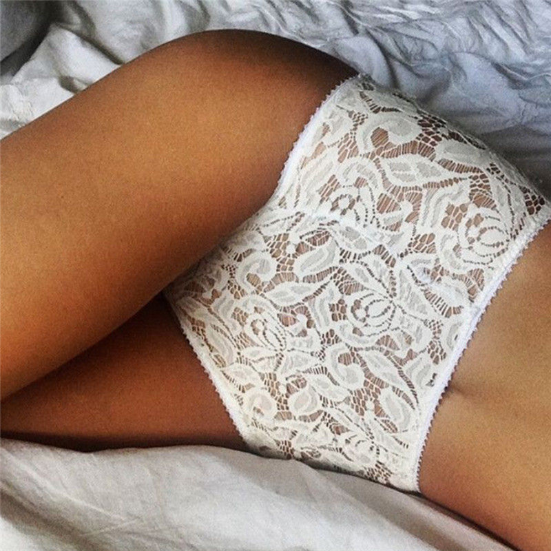 Embroidery Briefs Intimates Sexy Lingerie White Lace Underwear Women's Sexy Full Lace Panties Ladies NightwearTransparent