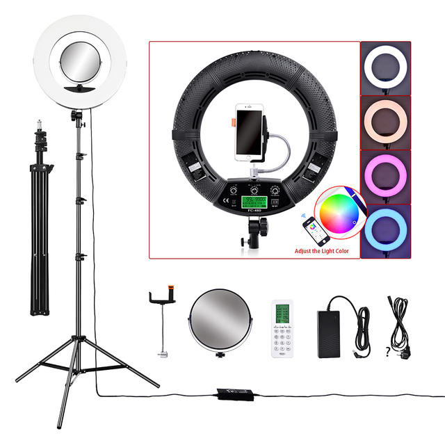 "18"" LED Video Photo Ring Light RGBW Colors Lamp with Mirror Stand Tripod for DSLR Camera Smart phones Professional Studio"