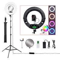 18 LED Video Photo Ring Light RGBW Colors Lamp with Mirror Stand Tripod for DSLR Camera Smart phones Professional Studio