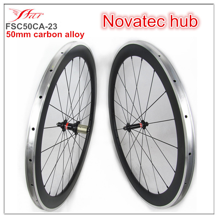 Far sports carbon clincher bicycle wheelsets 50mm 23mm alloy braking track with Novatec hub Matte finish wheelsets 700C far sports carbon wheels 50mm clincher 23mm wide with novatec hub and sapim spokes novatec carbon wheels fsc50cm 23 700c