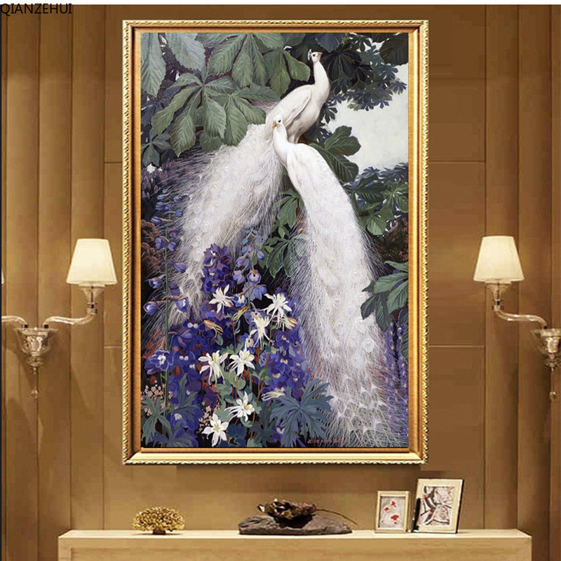 QIANZEHUI,Needlework,DIY 100% Printing Vertical Version Of Porch White Peacock Full Embroidery Cross Stitch,Wall Home Decro