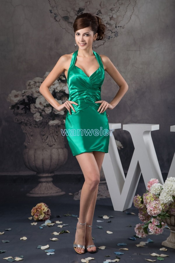 free shipping 2019 new hot seller design pleat women plus formal gown halter custom size/color short mini Party   bridesmaid     Dress