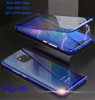 For Huawei P30 Pro Magnetic Case Front+Back double-sided 9H Tempered Glass Case for Huawei Mate 20 Pro P20 Pro Metal Bumper Case