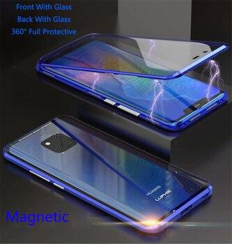 Para Huawei P30 Pro funda magnética frontal + trasera doble cara 9 H funda de vidrio templado para Huawei Mate funda de parachoques de Metal 20 Pro P20 Pro