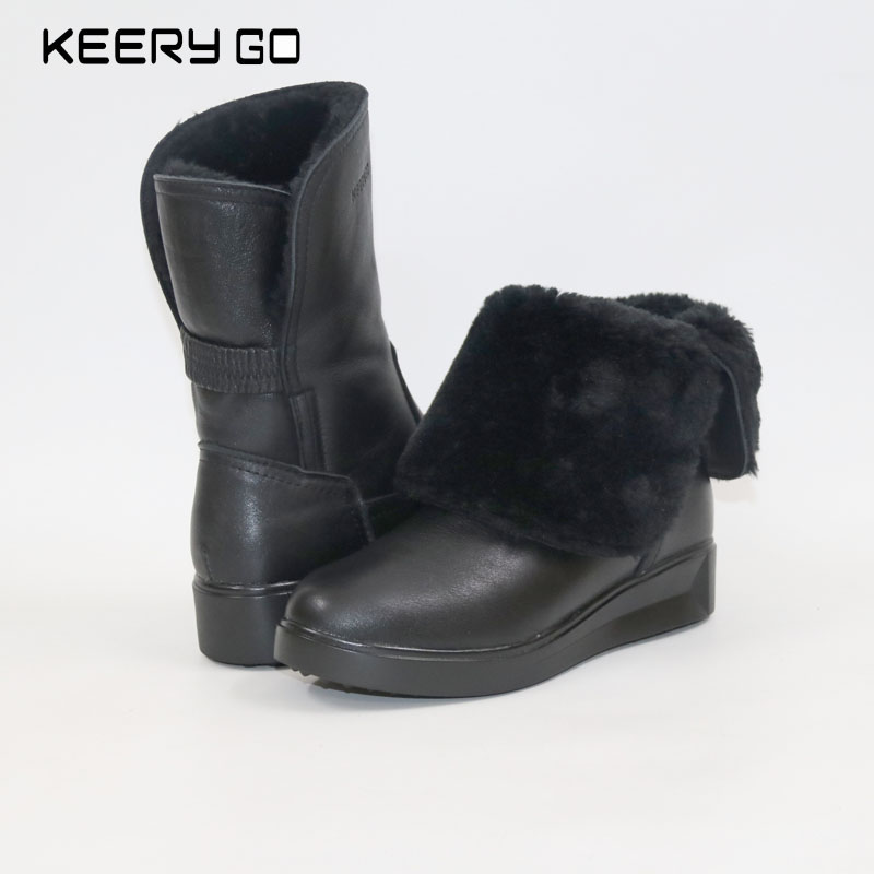 The new high end leather lace up boots Martin side zipper comfort women boots Warm snow boots