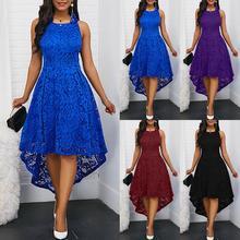 Цветочное кружевное женское однотонное платье миди без рукавов с асимметричным подолом